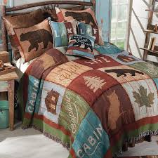 cabin decor lodge sled:  bear lodge tapestry bedding collection