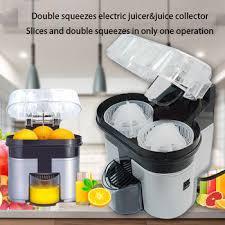 Double press two sets of electric orange juicer squeezes lemon ...