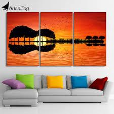<b>3 piece</b> canvas wall art <b>HD Printed</b> guitar tree lake sunset Painting ...