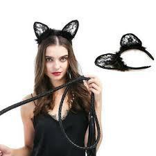 <b>Women's Sexy Black Feather</b> Cat Ears Headband Costume Cosplay ...
