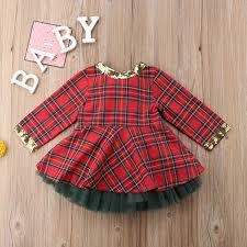 <b>Baby Christmas Clothes Baby</b> Boy Girl Long Sleeve Plaid <b>Rompers</b>