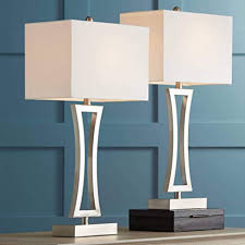 Roxie <b>Modern Table Lamps</b> Set of 2 Brushed Steel Off White ...