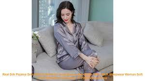 <b>Real Silk</b> Pajama Sets Female Summer Long-Sleeve Two-Piece ...