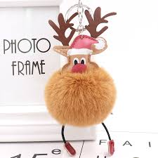 Plush <b>Elk</b> Pendants Keyring Keychain Pompom Reindeer <b>Fur Ball</b> ...
