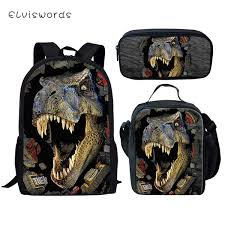 <b>ELVISWORDS Kids School</b> Backpack Cool Dinosaur Prints Pattern ...