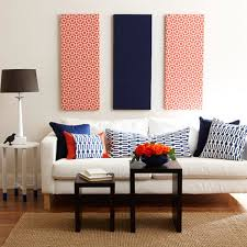 decorating ideas wall art decor: patterned navy blue and red fabric panel wall art