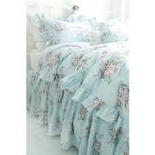 shabby beach cottage blue pink roses chic ruffles full queen duvet comforter cover set blue shabby chic bedding