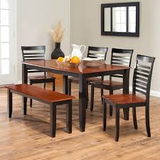 modern wood dining room sets: simple two toned dining set with bench the seats and table top are cherry