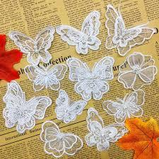 <b>10pcs</b> Vintage Butterfly Organza Pearl <b>Lace</b> Trim Applique Edges ...