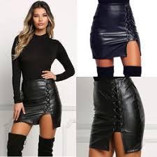 Sexy Black Lace Up PU кожаные юбки SpringnWomens ... - Vova