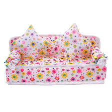 chic mini furniture flower soft sofa couch with 2 cushions miniature toys for doll house aliexpresscom buy 112 diy miniature doll house