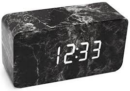 Alarm Clock, LiKee Marble Fashion Wooden LED ... - Amazon.com