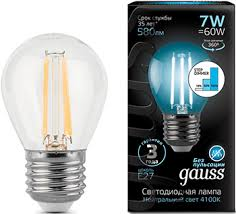 <b>Лампа GAUSS LED Filament</b> Шар E27 7W 580lm 4100K 1/10/50 ...