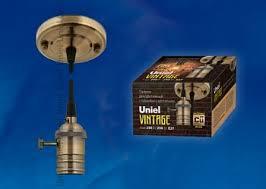 <b>Патрон декоративный</b> Uniel <b>Vintage Е27</b> провод 1,5 м выкл ...