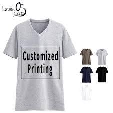 <b>Lanmaocat Cotton</b> V Neck T Shirts For <b>Men</b> Custom Text V Neck T ...