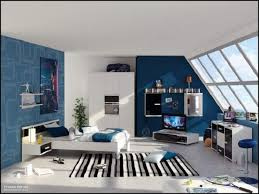 astounding slooping window room design for teenage guys modern bedroom decorating ideas with blue wall and bedroom furniture guys design