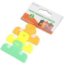<b>Зажим для пакетов Мультидом</b> LF75-77, 3.5 см, 3 шт, цвет в ...