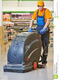 worker cleaning store floor machine royalty stock worker cleaning store floor machine