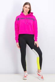 New Balance womens <b>sport style optiks</b> cropped hoodie magenta ...