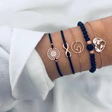 <b>2019I</b> Bohemian Black Beads Chain Bracelets Bangles For Women ...