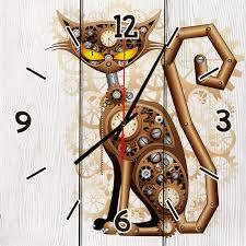 <b>Настенные часы</b> Механический кот 60 х 60 см