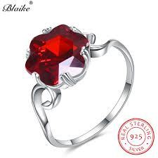 <b>Blaike</b> Hexagram Ruby Red Zircon Rings For Women Genuine <b>925</b> ...