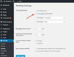storefront installation configuration woocommerce docs wordpress reading settings