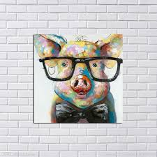 Large Canvas Art Cheap <b>100</b>% <b>Hand painted</b> Abstract Lovely Pig ...
