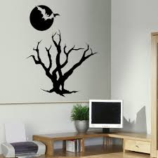 halloween gallery wall decor hallowen walljpg  large size of decoration cool halloween wall decal black color dark moon bat and tree