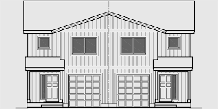 Duplex House Plans  Seattle House Plans  D  House front drawing elevation view for D  Duplex house plans  Seattle house plans