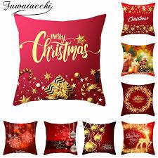 fuwatacchi christmas cushion cover snow pillowcase decorative polyester home sofa chair merry 45 45