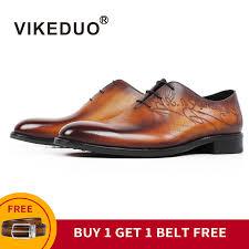 [Buy 1 Get 1 Belt Free] <b>VIKEDUO</b> Patina Leather Dress Shoes Men ...