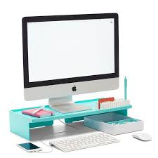 modern office organization. poppin aqua monitor riser modern desk accessories cool office supplies workhappy organization