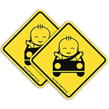 <b>BABY ON BOARD</b> Cute Smiling Baby car window sign with suction ...