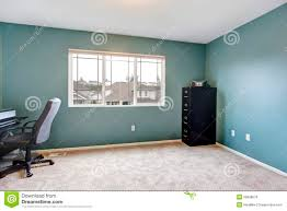 simple home office room interior with blue walls blue home office