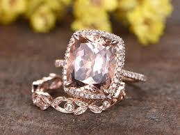Morganite <b>Engagement Ring</b> Set Rose Gold Diamond <b>Ring 2pcs</b> | Etsy