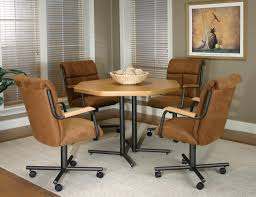 Dining Room Chairs With Casters And Arms Teak Dining Table And Ergonomic Brown Kitchen Chairs With Casters