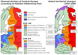 invasion of map showing the planned and actual divisions of according to the molotov ribbentrop pact