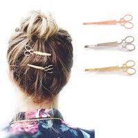 Hot Sale <b>Fashion 1 Pc</b> Women Chic Golden Silvery Scissors Shape ...