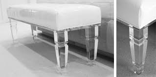 acrylic lucite bench with padded white leather seat for bedroom furniture idea acrylic bedroom furniture