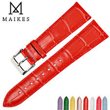 <b>MAIKES</b> Hot sale watchbands fashion red leather watch strap 22mm ...