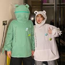 Women Hoodie Autumn <b>Korean Fashion Frog</b> Cotton Casual Full ...