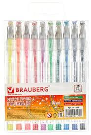 BRAUBERG <b>набор гелевых ручек</b> Jet 10 цветов (141038 ...