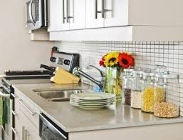 dishy kitchen counter decorating ideas: decorate small kitchens decorating fascinating appliances kitchen spaces also stack white dish glass jars