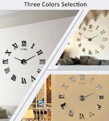 metal mirror home furnishings decor wall diy large d wall clock mirror sticker metal watches roman numeral home