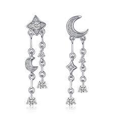 <b>JewelryPalace Star Moon</b> Cubic Zirconia Drop Earrings <b>925</b> Sterling ...