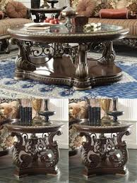 Traditional <b>Coffee Table</b> Set <b>3 PCS</b> in Brown Wood Traditional Style ...
