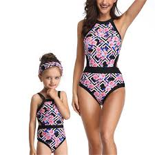 <b>Mother Daughter Swimsuit</b> Floral Family <b>Swimwear</b> Women One ...