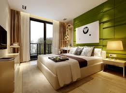 Modern Bedroom With Green Wall 3D Model