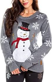 Women's <b>Sequin Snowman Christmas</b> Sweater - Gray Snowflake ...